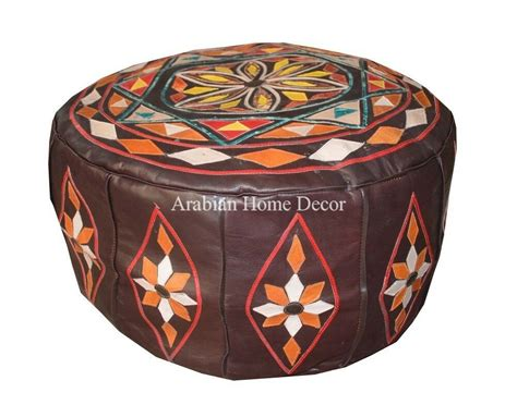 Hassock Ottoman Footstool moroccan genuine brown leather pouf pouffe ottoman hassock