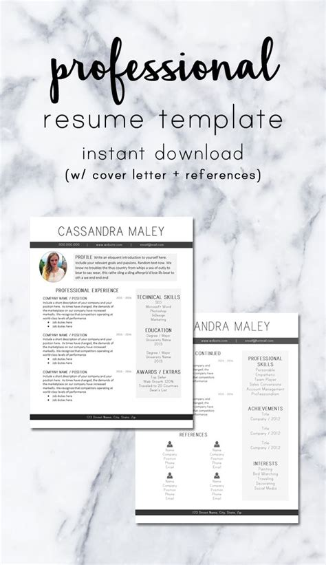clean resume template cover letter reference sheet