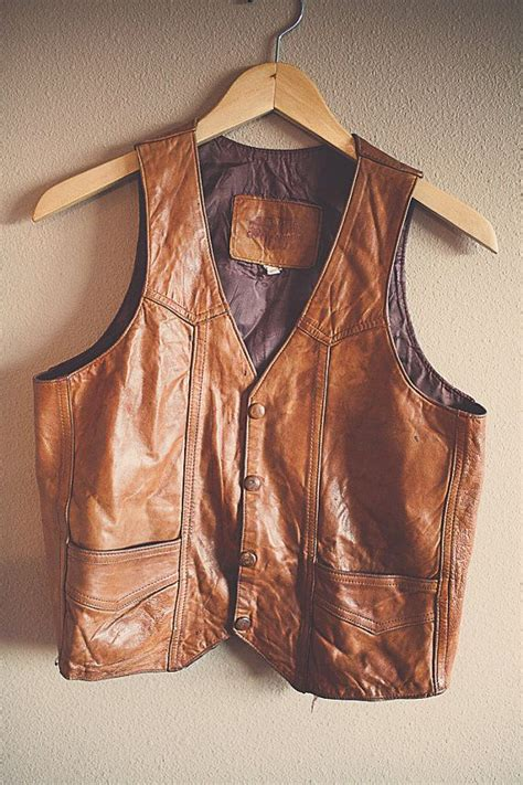 70's Leather Vest Tan Brown Men's Size 38 Bohemian Boho ...