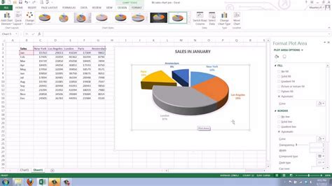 create  pie chart  excel  youtube