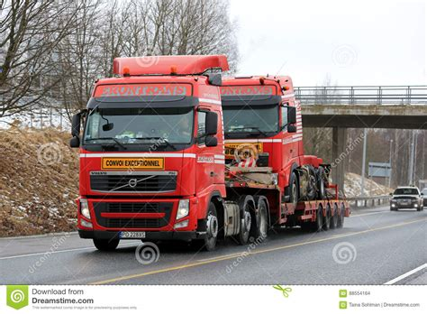 red volvo truck red volvo fh exceptional transport of identical truck