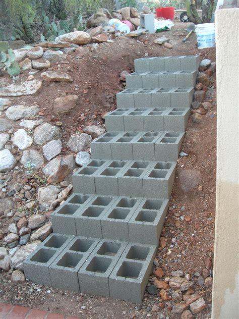 concrete block steps step