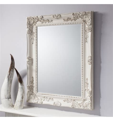 shabby chic wall mirror winslet baroque shabby chic antique white vintage style wall mirror