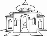 Mosque Drawing Masjid Coloring Gambar Getdrawings sketch template