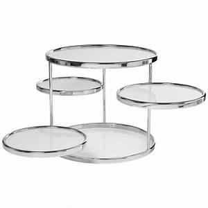 Table Basse Ronde Verre : table basse ronde 4 plateaux verre blanc achat vente table basse table basse ronde 4 plateau ~ Teatrodelosmanantiales.com Idées de Décoration