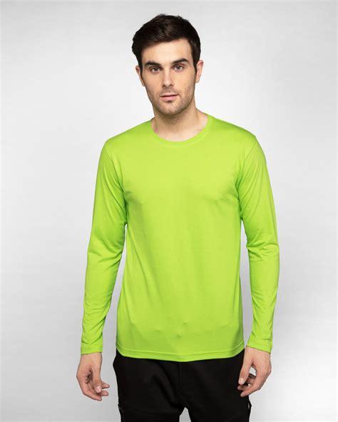 Buy Neon Green Plain Full Sleeve T-Shirt For Men Online India @ Bewakoof.com