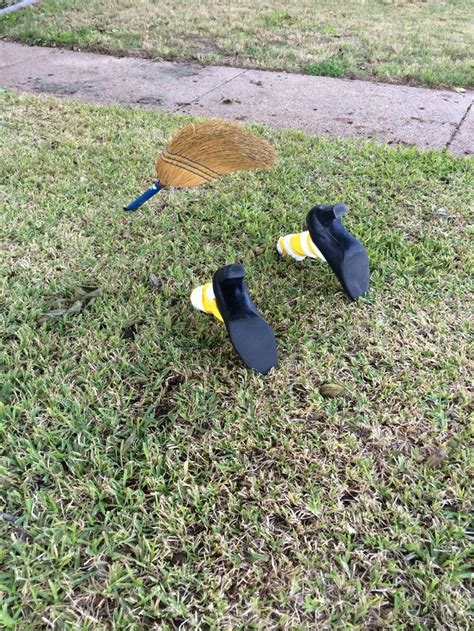 easy halloween yard decoration crash landed witch