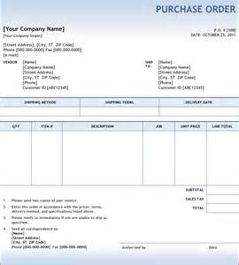 Sample Purchase Order Form Template