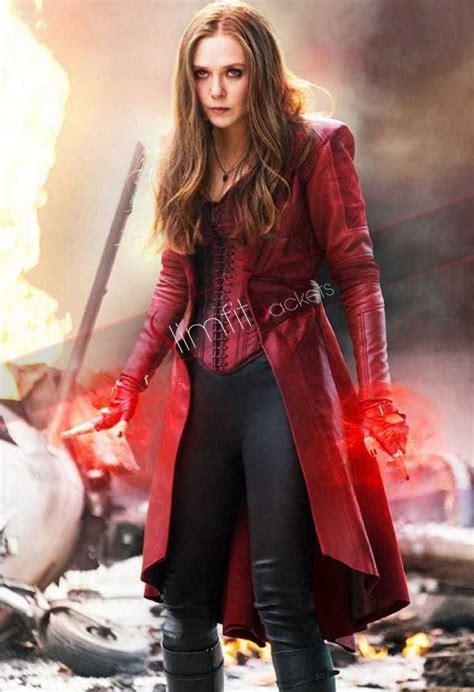 elizabeth olsen scarlet witch age  ultron jacket