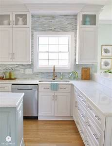 Coastal kitchen makeover the reveal for Kitchen colors with white cabinets with beach signs wall art