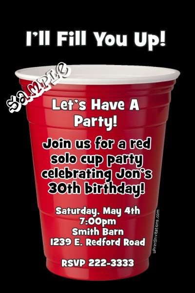 red solo cup birthday invitation  colors
