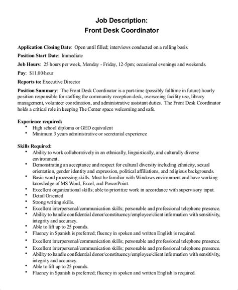 help desk coordinator job description sle front desk job description 10 exles in pdf word