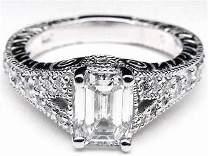 vintage emerald cut diamond engagement rings wedding and With emerald cut engagement ring with wedding band