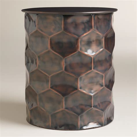 metal drum side table metal rani drum accent table world market