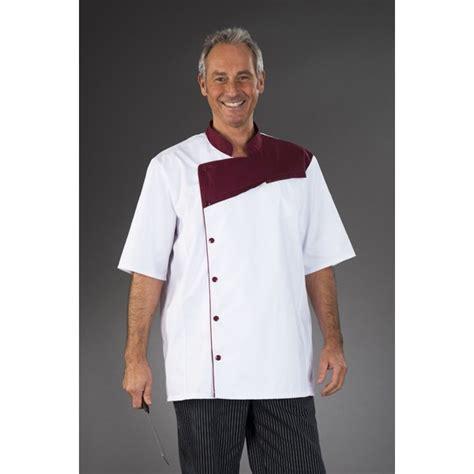 tenue de cuisine tenue de cuisine blanche pastron bordeaux manches courtes my tablier cuisine com