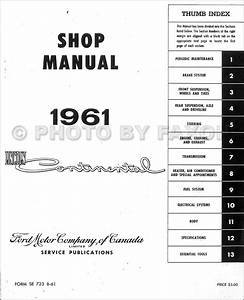 1961 Lincoln Continental Canadian Repair Shop Manual Original