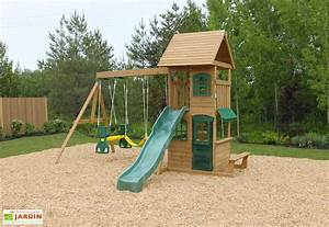 Balancoire Et Toboggan : aire de jeux en bois windale avec toboggan balan oires et ~ Melissatoandfro.com Idées de Décoration