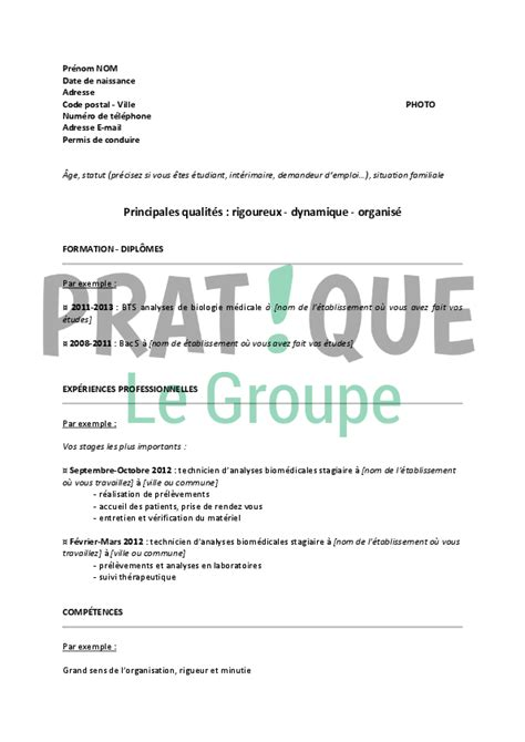 Un Resume In by Mod 232 Le De Cv Pour Un Emploi De Technicien D Analyses Biom 233 Dicales D 233 Butant Pratique Fr
