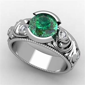 hand made emerald engagement ring by paul michael design With gaudy mens wedding rings