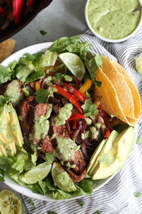 Steak Fajita Salads with Creamy Avocado Cilantro Dressing