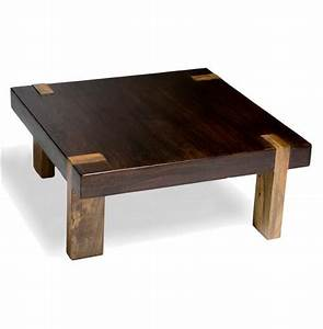Berkeley solid wood chunky contemporary rustic coffee for Wood chunk coffee table