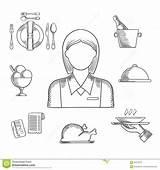 Restaurant Hand Items Drawn Waitress Waiter Illustration Profession sketch template