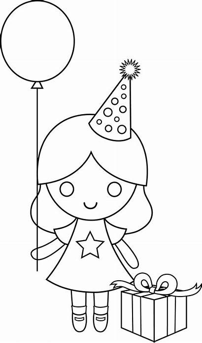 Coloring Birthday Drawing Clipart Pages Drawings Happy