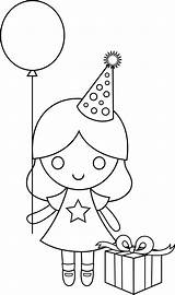 Coloring Birthday Happy Drawing Pages Clip Drawings Line Clipart Sweetclipart Birthdays Cliparts Transparent Colorable Characters sketch template