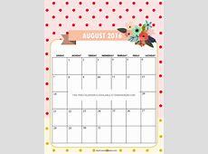Printable August Calendar Calendar Template 2017 Cute