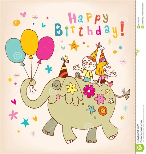 Birthday Card Image 2 by Happy Birthday Greeting Card Stock Vector