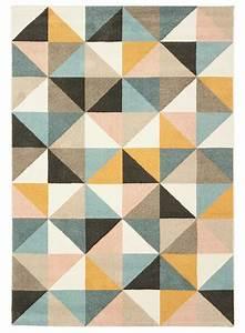 Tapis Motif Scandinave : tapis motif scandinave triangle ek pastel bleu jaune noir beige tr s doux au touch ~ Teatrodelosmanantiales.com Idées de Décoration