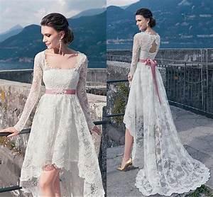 plus size boho wedding dresses 2016 full lace long sleeves With long sleeve high low wedding dresses
