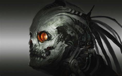 Dark Horror Evil Sci Fi Skull Art Cyborg Robot Wallpaper