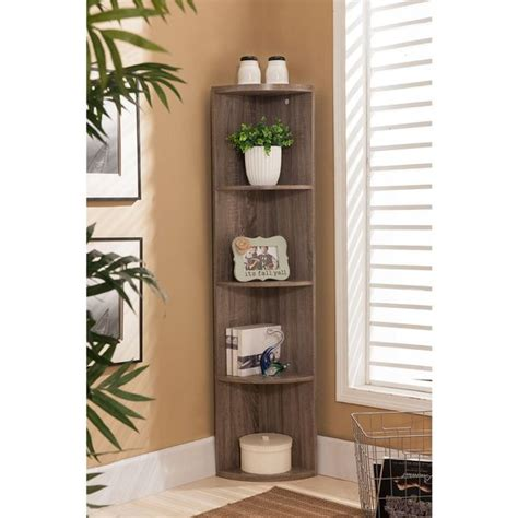 Corner Cabinet Bookcase by Shop K B Bk19 Grey Wood Corner Bookcase Free Shipping