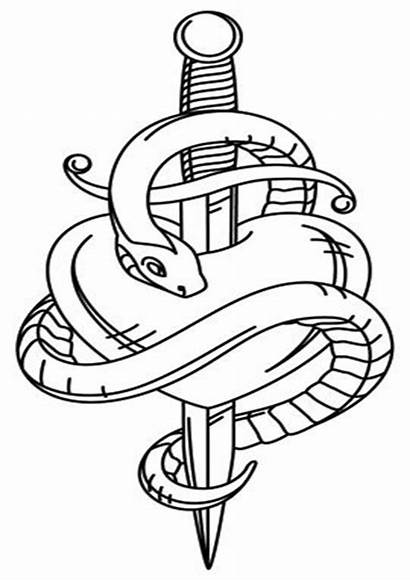 Snake Coloring Tulamama Easy Tattoo Dagger Sketch