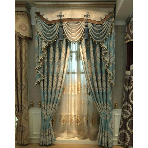 blue damask embroidery chenille thermal vintage curtains