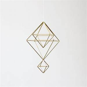 Brass Himmeli no. 7 / Modern Hanging Mobile / Geometric ...