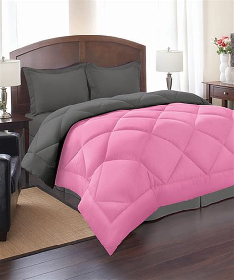 pink gray reversible comforter set modern comforters and