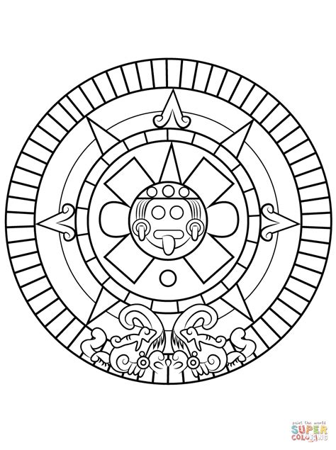 aztec sun stone coloring page  printable coloring pages