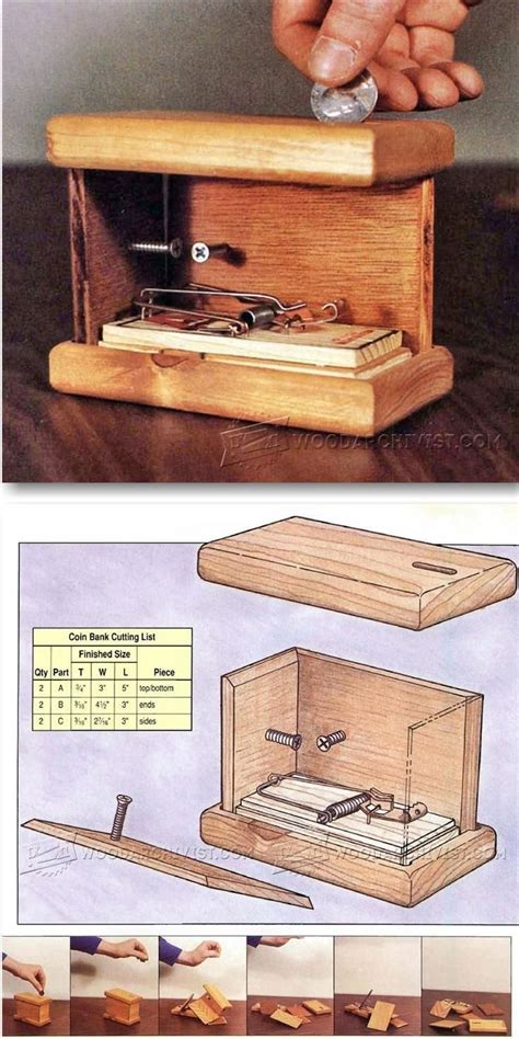 exploding coin bank plans woodworking plans  projects woodarchivistcom woodworking