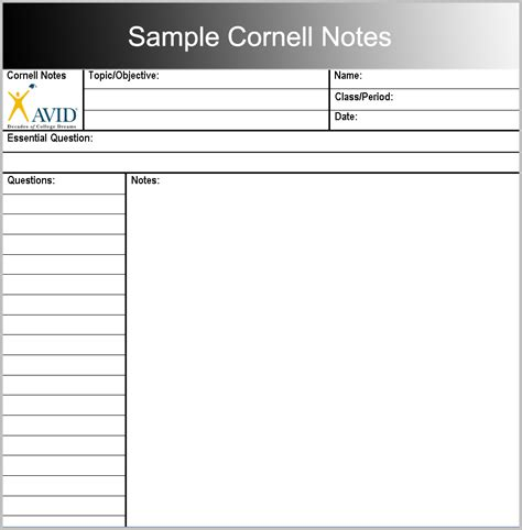 printable cornell notes templates  word  format