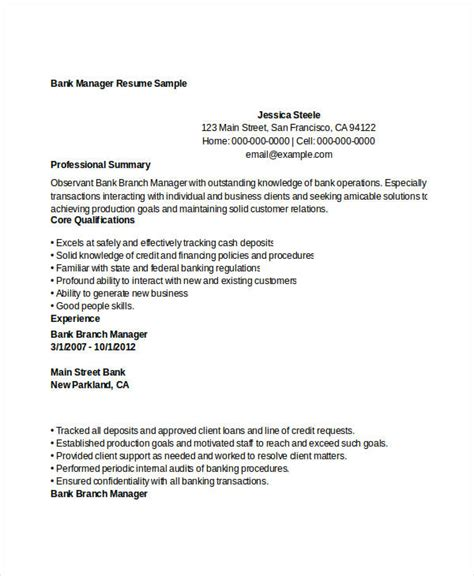 Bank Manager Resume by 52 Professional Manager Resumes Pdf Doc Free
