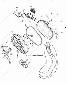 Polaris Side By Side 2014 Oem Parts Diagram For Drive Train  Clutch Cover And Ducting