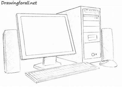 Computer Drawing Draw Pencil Monitor Step Sketch