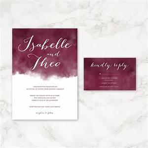 Maroon watercolor wedding invitation printable wedding for Maroon watercolor wedding invitations