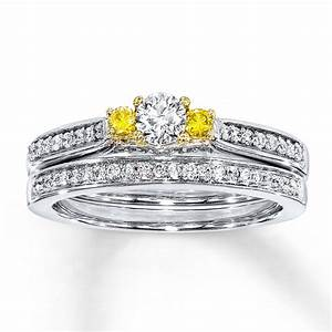 Unique 1 Carat Trilogy White And Yellow Diamond Wedding