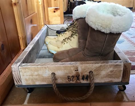 rustic wooden rolling boot tray boot tray shoe tray shoe
