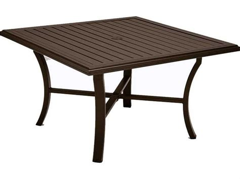 Sadie outdoor wicker patio end table by havenside home. Tropitone Banchetto Slat Aluminum 48'' Wide Square KD Dining Table with Umbrella Hole | TP401158U