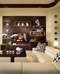 Floating wall shelves decorating ideas family room