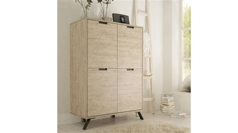 canapé moderne design meuble de rangement nekho 4 portes en bois et piètement